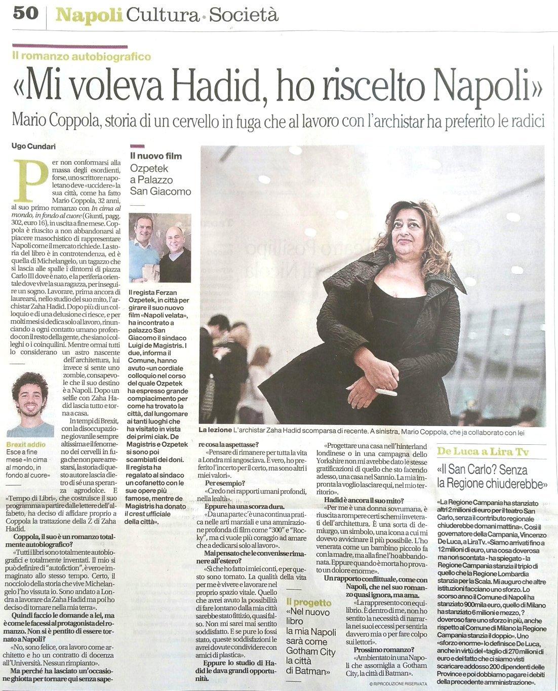 Intervista di Mario Coppola – Il Mattino